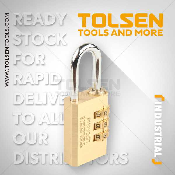 30mm Brass Combination Pad Lock Tolsen Brand 55123