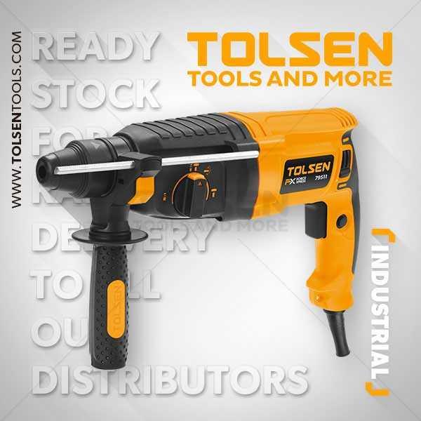 800W 220-240V 1100rpm Electric Rotary Hammer Drill Machine Tolsen Brand 79511
