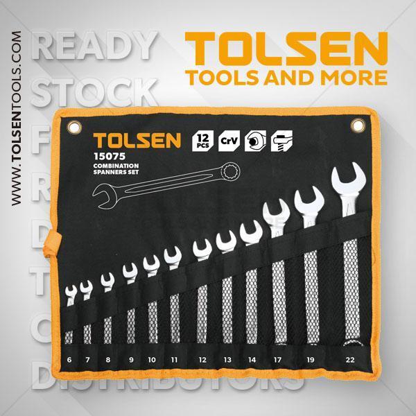 12Pcs Combination Spanners Set  6-7-8-9-10-11-12-13-14-17-19-22mm Tolsen Brand 15075