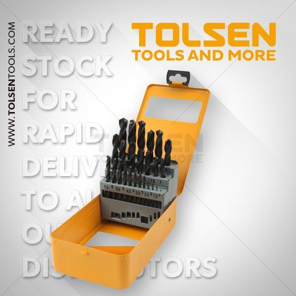 1- 1.5- 2- 2.5- 3- 3.5- 4- 4.5- 5- 5.5- 6- 6.5- 7- 7.5- 8- 8.5- 9-9.5- 10- 10.5- 11- 11.5- 12- 12.5- 13mm 25Pcs Hss Twist Drill Bits Set Tolsen Brand 75082