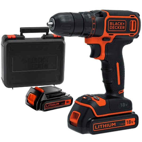18V Cordless Drill Machine BLACK and DECKER Brand BDCDC18KB (2 batteries)